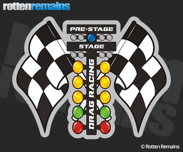 Drag racing tree lights checkered flags race car sticker decal drag racing tree lights checkered flags race car sticker decal aloadofball Image collections