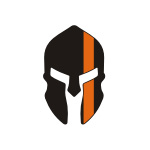Skull / Spartan Orange Line Stickers